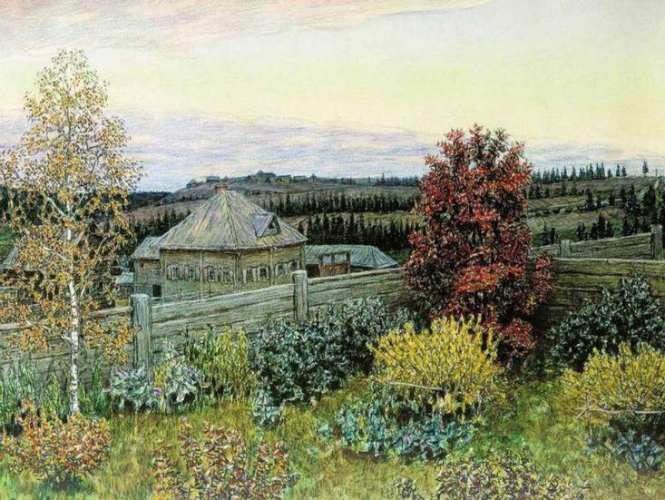 Васнецов А. М. Вид из окна столовой Рябово (1919)